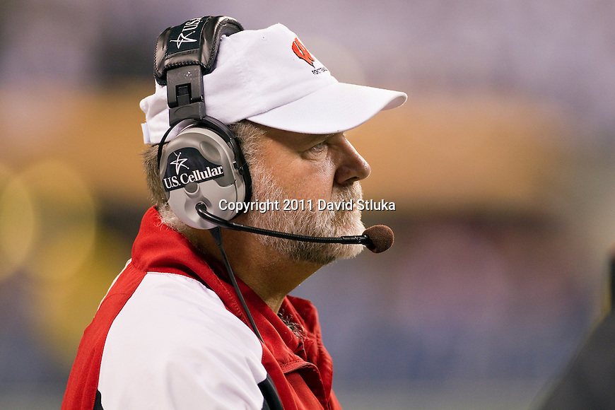 Wisconsin Badgers assistant coach Dave Huxtable looks on during the Big Ten Conference Championship NCAA college football game against the Michigan State Spartans on December 3 , 2011 in Indianapolis, Indiana. The Badgers won 42-39. (Photo by David Stluka)