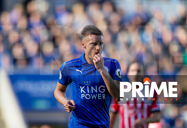 Jamie Vardy of Leicester City during the Premier League match between Leicester City and Southampton at the King Power Stadium, Leicester, England on 2 October 2016. Photo by Andy Rowland.