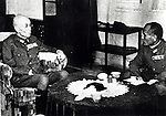 Yasuji Okamura (15 May 1884 - 2 September 1966) was a general of the Imperial Japanese Army and commander-in-chief of the China Expeditionary Army from November 1944 to the end of World War II. He fought in the Second Sino-Japanese War. After the War he was convicted of War Crimes in 1948 but received immediate protection from the then Nationalist Chinese leader Chiang Kai-shek. Pictured here with General Hayao Tada. Okamura is on the left. (Photo by Kingendai Photo Library/AFLO)