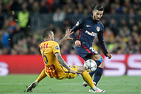 FC Barcelona's Dani Alves (l) and  Atletico de Madrid's Yannick Carrasco during Champions League 2015/2016 match. April 5,2016. (ALTERPHOTOS/Acero) <br /> Barcellona 05-04-2016 <br /> Football Calcio 2015/2016 Champions League <br /> Barcellona - Atletico Madrid Quarti di finale<br /> Foto Alterphotos / Insidefoto <br /> ITALY ONLY