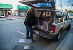 Susan Smith, of Rivertown Cats and volunteer for H.A.R.P. (Homeless Animal Response Program), of Antioch, prepares to set out humane traps in order to catch, neuter and return (TNR) cats in Antioch, California, on Friday, March 21, 2014.  Photo/Victoria Sheridan