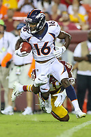 Landover, MD - August 24, 2018: Denver Broncos wide receiver Isaiah McKenzie (16) in action during the preseason game between Denver Broncos and Washington Redskins at FedEx Field in Landover, MD.   (Photo by Elliott Brown/Media Images International)