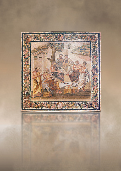 Roman mosaic of  the Academy of Plato from the Villa of T. Siminius Stephanus, inv no 124545, Naples Archaeological Musum, Italy