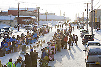 Musher Jeff King heads out of the start shoot on Front Street in Nome for the start of the 2008 All Alaska Sweepstakes 100 year commemorative sled dog race.