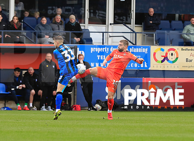 Elliot Lee of Luton Town battles for the ball during the Sky Bet League 1 match between Luton Town and Gillingham at Kenilworth Road, Luton, England on 16 March 2019. Photo by Liam Smith.