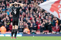 Burnley's Sam Vokes shows his dejection as Arsenal go 3-1 ahead<br /> <br /> Photographer David Shipman/CameraSport<br /> <br /> The Premier League - Arsenal v Burnley - Saturday 22nd December 2018 - The Emirates - London<br /> <br /> World Copyright © 2018 CameraSport. All rights reserved. 43 Linden Ave. Countesthorpe. Leicester. England. LE8 5PG - Tel: +44 (0) 116 277 4147 - admin@camerasport.com - www.camerasport.com