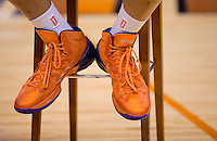 Jun. 10, 2013; Phoenix, AZ, USA: Detailed view of the Nike shoes worn by Phoenix Mercury center Brittney Griner during a team practice at the US Airways Center. Mandatory Credit: Mark J. Rebilas-