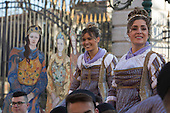 Venice, Italy. Festa delle Marie with 12 Venetian girls who have been selected in homage to the Venetian Doge. People dress in costumes and wear masks as they celebrate the 2015 Carnival in Venice, Italy.
