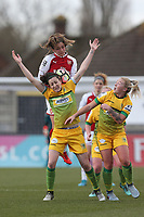 Danielle van de Donk of Arsenal rises above Nicola Cousins of Yeovil during Arsenal Women vs Yeovil Town Ladies, FA Women's Super League FA WSL1 Football at Meadow Park on 11th February 2018