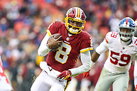 Landover, MD - December 9, 2018: Washington Redskins Josh Johnson (8) scores a touchdown during the  game between New York Giants and Washington Redskins at FedEx Field in Landover, MD.   (Photo by Elliott Brown/Media Images International)