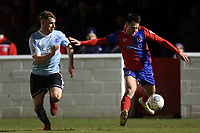 George Fowler of Aldershot Town and Luke Howell of Dagenham  during Dagenham & Redbridge vs Aldershot Town, Vanarama National League Football at the Chigwell Construction Stadium on 10th February 2018