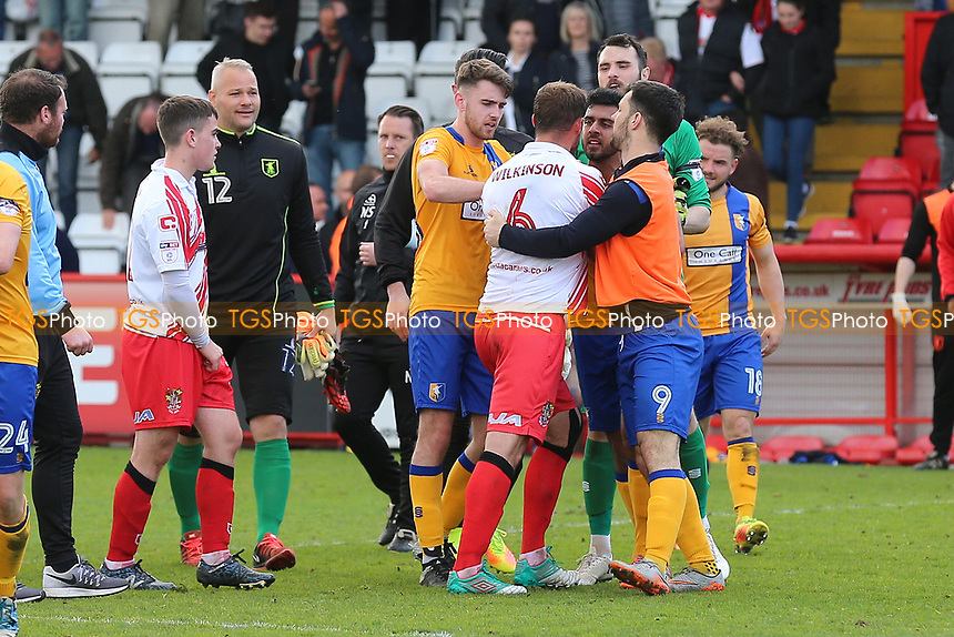 Tempers flare after Stevenage vs Mansfield Town, Sky Bet EFL League 2 Football at the Lamex Stadium on 22nd April 2017