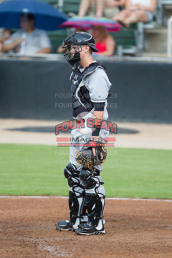 Delmarva Shorebirds catcher Chance Sisco (23) on defense against the Kannapolis Intimidators at CMC-NorthEast Stadium on July 3, 2014 in Kannapolis, North Carolina.  The Shorebirds defeated the Intimidators 6-5. (Brian Westerholt/Four Seam Images)