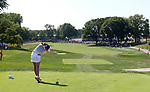 DES MOINES, IA - AUGUST 19: USA's Paula Creamer hits her tee shot on the 10th hole during their four-ball match Saturday afternoon at the 2017 Solheim Cup in Des Moines, IA. (Photo by Dave Eggen/Inertia)
