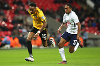 Shawn McCoulsky of Newport County is chased by Kyle Walker-Peters of Tottenham Hotspur during the Fly Emirates FA Cup Fourth Round Replay match between Tottenham Hotspur and Newport County at Wembley Stadium, London, England, UK. 07 February 2018