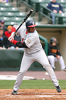 April 30th 2008:  Sandy Madera (43) of the Pawtucket Red Sox, Class-AAA affiliate of the Boston Red Sox, at bat during a game at Frontier Field  in Rochester, NY.  Photo by Mike Janes/Four Seam Images