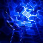 Glowing blue flowchart diagram conceptual background