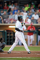 Dayton Dragons right fielder Michael Beltre (34) at bat during a game against the Cedar Rapids Kernels on May 10, 2017 at Fifth Third Field in Dayton, Ohio.  Cedar Rapids defeated Dayton 6-5 in ten innings.  (Mike Janes/Four Seam Images)