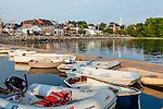 View of Damariscotta from the town pier in Damariscotta, Maine, USA