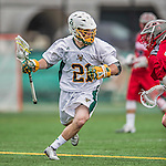 18 April 2015:  University of Vermont Catamount Attacker Michael Clarke, a Sophomore from Rumson, NJ, leads a rush upfield against the University of Hartford Hawks at Virtue Field in Burlington, Vermont. The Cats defeated the Hawks 14-11 in the final home game of the 2015 season. Mandatory Credit: Ed Wolfstein Photo *** RAW (NEF) Image File Available ***