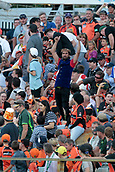 8th January 2018, The WACA, Perth, Australia; Australian Big Bash Cricket, Perth Scorchers versus Melbourne Renegades; A Melbourne Renegades supporter cheers for a six during the Renegades innings
