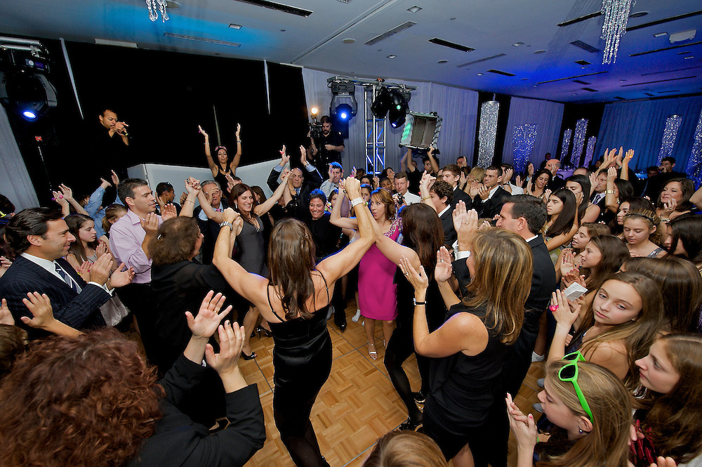 The hora dance at a Mitzvah party, New York City.