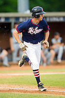 Evan Stephens #13 (Wake Forest) of the High Point-Thomasville HiToms hustles down the first base line against the Wilson Tobs at Finch Field on June 17, 2013 in Thomasville, North Carolina.  The Tobs defeated the HiToms 3-2 in 11 innings.  Brian Westerholt/Four Seam Images