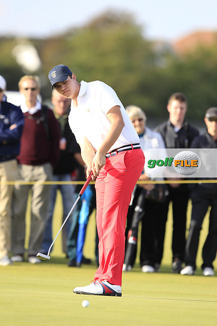 Beau Hossler (USA) during the afternoon singles for the Walker cup Royal Lytham St Annes, Lytham St Annes, Lancashire, England. 13/09/2015<br /> Picture Golffile | Fran Caffrey<br /> <br /> <br /> All photo usage must carry mandatory copyright credit (&copy; Golffile | Fran Caffrey)