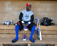 Spartanburg Methodist College grads Orlando Hudson, a Major League All-Star and Gold Glove winner, puts on his gear in the dugout before practice with the SMC baseball team Jan. 19, 2010. Hudson was later signed by the Minnesota Twins on Feb. 4. Photo by: Tom Priddy/Four Seam Images