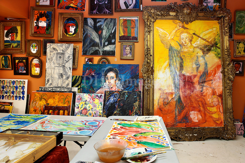 atelier with artworks