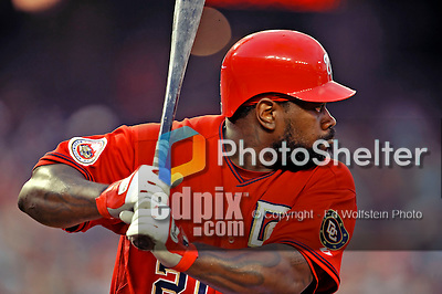 21 June 2008: Washington Nationals' first baseman Dmitri Young in action against the Texas Rangers at Nationals Park in Washington, DC. The Rangers defeated the Nationals 13-3 in the second game of their 3-game inter-league series...Mandatory Photo Credit: Ed Wolfstein Photo