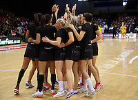 20.10.2016 The Silver Ferns team huddle during the Silver Ferns v Australia netball test match played at ILT Stadium in Invercargill. Mandatory Photo Credit ©Michael Bradley.