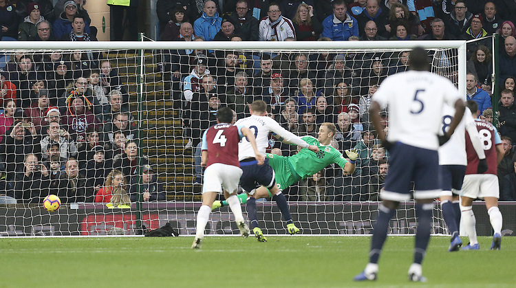 Everton's Gylfi Sigurdsson scores his side's third goal past Burnley's Joe Hart from the penalty spot<br /> <br /> Photographer Rich Linley/CameraSport<br /> <br /> The Premier League - Burnley v Everton - Wednesday 26th December 2018 - Turf Moor - Burnley<br /> <br /> World Copyright © 2018 CameraSport. All rights reserved. 43 Linden Ave. Countesthorpe. Leicester. England. LE8 5PG - Tel: +44 (0) 116 277 4147 - admin@camerasport.com - www.camerasport.com