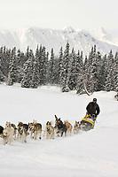 Mitch Seavey sled dog team on trail near Finger Lake Chkpt 2006 Iditarod Finger Lake Alaska Winter