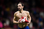 Juan Francisco Torres Belen, Juanfran, of Atletico de Madrid takes off his shirt after the UEFA Europa League 2017-18 Round of 32 (2nd leg) match between Atletico de Madrid and FC Copenhague at Wanda Metropolitano  on February 22 2018 in Madrid, Spain. Photo by Diego Souto / Power Sport Images