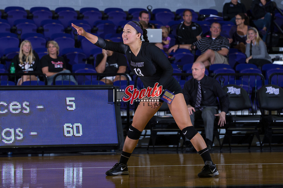 Wavie Chin (13) of the High Point Panthers during the match against the Marshall Thundering Herd at the Panther Invitational at the Millis Athletic Center on September 12, 2015 in High Point, North Carolina.  The Thundering Herd defeated the Panthers 3-2.   (Brian Westerholt/Sports On Film)