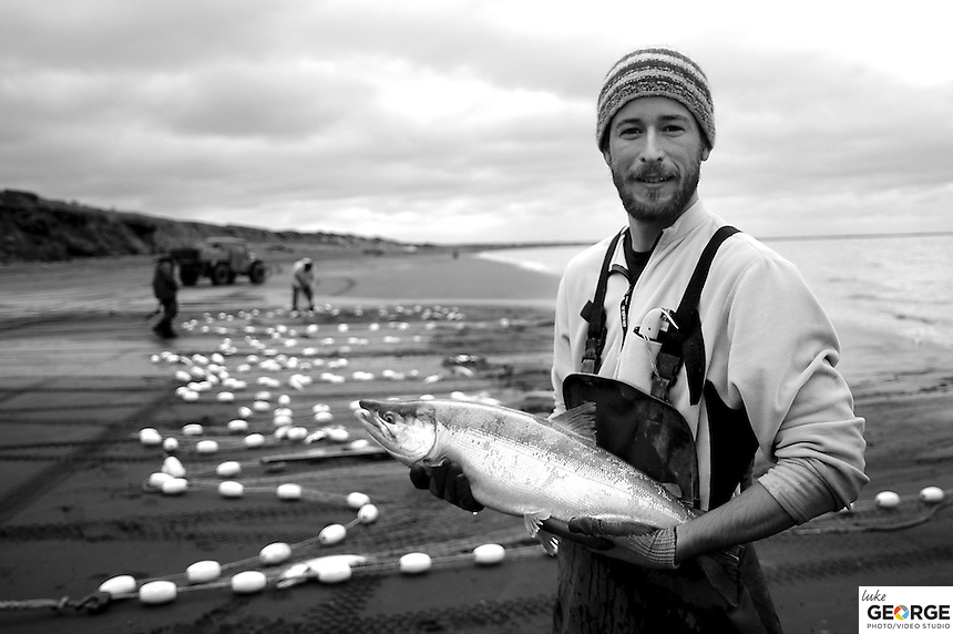 About 70 crews and nets line the beach each day, for both tides, in hope of catching the hearty wild Sockeye Salmon that sustain their lifestyle and traditions.