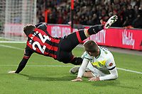 Ryan Fraser of Bournemouth goes down under the challenge from Tom Trybull of Norwich City during AFC Bournemouth vs Norwich City, Caraboa Cup Football at the Vitality Stadium on 30th October 2018