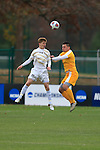 KANSAS CITY, MO - DECEMBER 03:  Nate Evans (22) of Wingate University and Jake Young (2) of the University of Charleston battle for a header during the Division II Men's Soccer Championship held at Children's Mercy Victory Field at Swope Soccer Village on December 03, 2016 in Kansas City, Missouri. Wingate beat Charleston 2-0 to win the National Championship. (Photo by Jack Dempsey/NCAA Photos via Getty Images)