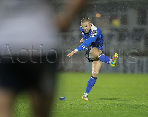 01.01.2016. RDS Arena, Dublin, Ireland. Guinness Pro 12 Leinster versus Connacht. Ian Madigan of Leinster kicks the extra point.