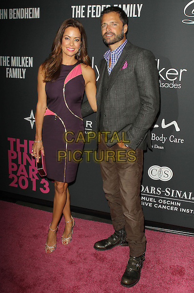 Brooke Burke, David Charvet<br /> The Pink Party 2013 held at the Santa Monica Airport, Santa Monica, California, USA.<br /> October 19th, 2013<br /> full length dress purple brown trousers grey gray suit jacket blue shirt beard facial hair married husband wife waistcoat clutch bag<br /> CAP/ADM/KB<br /> &copy;Kevan Brooks/AdMedia/Capital Pictures