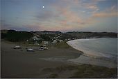 The Moon above the small settlement of Castlepoint, Masterton, NZ