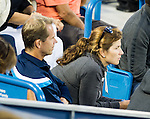 Stefan Edberg and Mirka Federer watch on as Roger Federer (SUI) and Andy Murray (GBR) play. Federer won by 63 75 at the Western & Southern Open in Mason, OH on August 15, 2014.