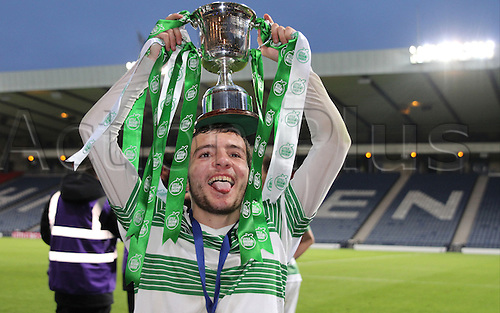21.05.2015.  Glasgow, Scotland. Little Big Shot Scottish Youth Cup Final. Celtic versus Rangers.  Paul McMullan with the trophy