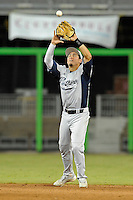 7 March 2012:  FIU infielder Jeremy Bajdaun (41) catches a popup as the Miami Marlins defeated the FIU Golden Panthers, 5-1, at Marlins Park in Miami, Florida.