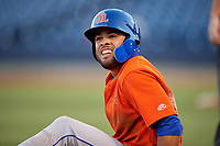 St. Lucie Mets Desmond Lindsay (2) after sliding into third base during a Florida State League game against the Tampa Tarpons on April 10, 2019 at George M. Steinbrenner Field in Tampa, Florida.  St. Lucie defeated Tampa 4-3.  (Mike Janes/Four Seam Images)