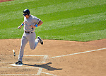 17 June 2012: New York Yankees first baseman Mark Teixeira scores the Yankees 4th run on a passed ball in the 7th inning against the Washington Nationals at Nationals Park in Washington, DC. The Yankees defeated the Nationals 4-1 to sweep their 3-game series. Mandatory Credit: Ed Wolfstein Photo
