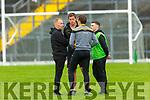 Dr Crokes management team Edmund O'Sullivan, Eoin Brosnan, Luke Quinn and Jamie Doolan chat during their SFC clash in Fitzgerald Stadium on Friday evening