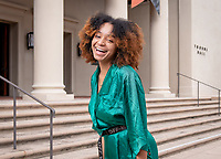 Sophia Brown '20, student profile, photographed March 8, 2019 in front of Thorne Hall.<br /> (Photo by Marc Campos, Occidental College Photographer)