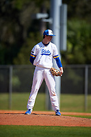 South Dakota State Jackrabbits relief pitcher Drew Beazley (14) during a game against the FIU Panthers on February 23, 2019 at North Charlotte Regional Park in Port Charlotte, Florida.  South Dakota State defeated FIU 4-3.  (Mike Janes/Four Seam Images)